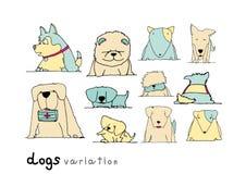 De krabbelpastelkleur van de hondenvariatie op witte achtergrond Royalty-vrije Stock Fotografie