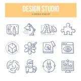 De Krabbelpictogrammen van de ontwerpstudio vector illustratie