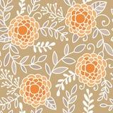 De krabbelpioen bloeit vector naadloos patroon Beige, oranje en witte hand getrokken bloemenachtergrond Stock Foto