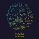De krabbelreeks van de de zomerpicknick Diverse maaltijd, dranken, voorwerpen, sportactiviteiten Vector illustratie Stock Foto's