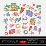 De krabbelreeks van de de zomervakantie sticker Met als thema gehad Stock Fotografie