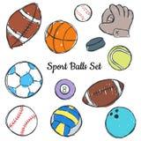 De krabbelreeks van de sportbal Stock Foto's