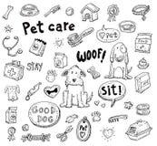 De krabbelreeks van huisdierenpictogrammen, vectorillustratie Stock Afbeelding