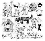De krabbelreeks van huisdierenpictogrammen, vectorillustratie Stock Foto