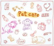 De krabbelreeks van huisdierenpictogrammen, vectorillustratie Royalty-vrije Stock Afbeeldingen