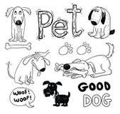 De krabbelreeks van huisdierenpictogrammen, vectorillustratie Stock Fotografie