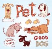 De krabbelreeks van huisdierenpictogrammen, vectorillustratie Royalty-vrije Stock Fotografie