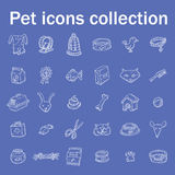 De krabbelreeks van huisdierenpictogrammen, vectorillustratie Stock Foto's