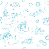 De krabbels blauwe patern van het speelgoed Royalty-vrije Stock Afbeeldingen