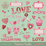 De krabbels van de valentijnskaart Royalty-vrije Stock Fotografie