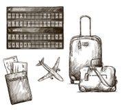 De krabbels van de vliegtuigreis. Getrokken hand. Vector. vector illustratie