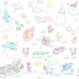 De krabbels van het stuk speelgoed Stock Afbeeldingen