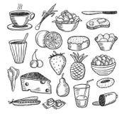 De krabbels van het voedsel Stock Afbeelding