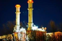 De krachtcentrale van de nachtscène Stock Afbeelding