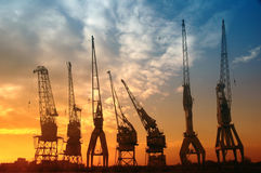 De kranen van de haven Royalty-vrije Stock Afbeeldingen