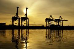De Kranen van de Haven van het silhouet Stock Afbeelding