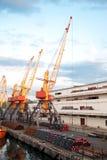 De kranen van de zeehaven en van de toren Royalty-vrije Stock Afbeeldingen