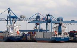 De kranen werken in de haven van Rotterdam Stock Fotografie