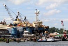 De kranen werken in de haven van Rotterdam Royalty-vrije Stock Foto's