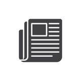 De krant, de vector van het nieuwspictogram, vulde vlak teken, stevig pictogram dat op wit wordt geïsoleerd vector illustratie