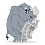 De krant van de rinoceroslezing Stock Afbeeldingen