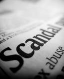De krantekop van het schandaal Stock Foto's
