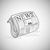De krantenillustratie van de krabbelstijl in vector Stock Fotografie