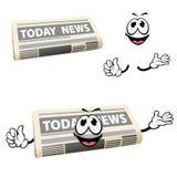 De krantenpictogram van het beeldverhaalnieuws met handen Stock Afbeeldingen