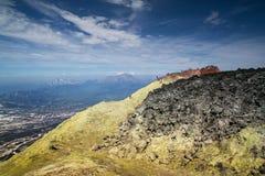 De krater van de Avachinsky-vulkaan, Kamchatka Stock Foto's