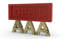 De kredietstandaard die van onder schuld instort Stock Afbeeldingen