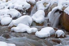 De kreek van de winter tijdens sneeuwval Royalty-vrije Stock Foto