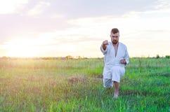 De krijgskunst van karate, een mens in een kimono leidt in openlucht op, royalty-vrije stock foto's
