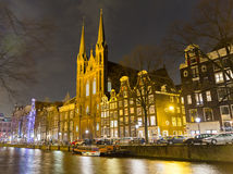 De Krijtberg Church and canal, Amsterdam Stock Images