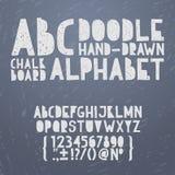 De krijthand trekt krabbel abc, alfabet grunge Stock Afbeelding