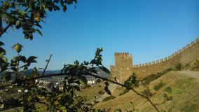 De Krim, Sudak, vesting Genoese Stock Foto