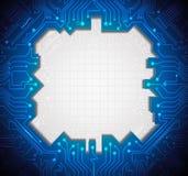 De kringsachtergrond van de illustratie Blauwe abstracte technologie Stock Afbeeldingen
