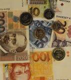 De Kroatische bankbiljetten van muntkuna en muntstukachtergrond Royalty-vrije Stock Foto's