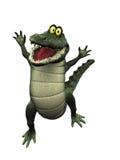 De krokodil die van het beeldverhaal voor vreugde springt. Stock Foto's