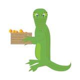 De krokodil draagt een doos met sinaasappelen Stock Foto's