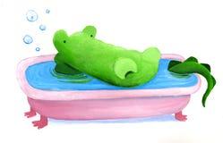 De krokodil heeft een bad Stock Foto