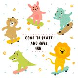 De krokodil, leeuw, konijntje, draagt, hippo het met een skateboard rijden royalty-vrije illustratie