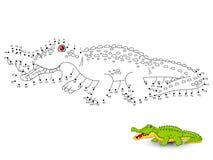 De krokodil verbindt de punten en de kleur Stock Foto