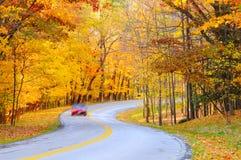 De kromme van de herfst met auto stock afbeelding