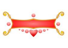 De krommen van het ornament met cirkel en hart royalty-vrije illustratie