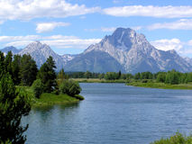 De Kromming van Oxbow, Grand Teton N.P. Stock Foto's
