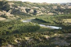 De Kromming van Theodore Roosevelt National Park - Oxbow- Stock Foto