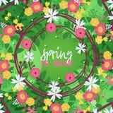 De kronen verlaat en bloeit banner vectorilustration De bloei van installatie, de lente is dichtbij Takken met bloesem voor huwel royalty-vrije illustratie