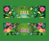 De kronen verlaat en bloeit reeks van banners vectorilustration Bloei van de verkoop van de installatielente Takken met bloesem v vector illustratie