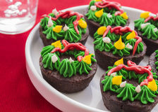 De Kroon Brownies van Kerstmis Stock Foto's