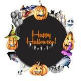 De kroon, cirkelkader van waterverf Halloween heeft pompoenen in oude hoeden, geesten, schedel, pot en andere bezwaar stock illustratie